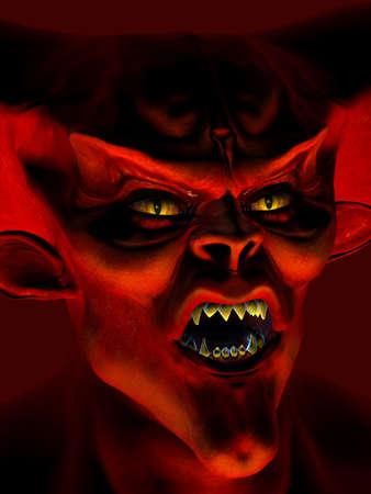 diable rouge: Portrait D�mon - Rendu 3D Banque d'images