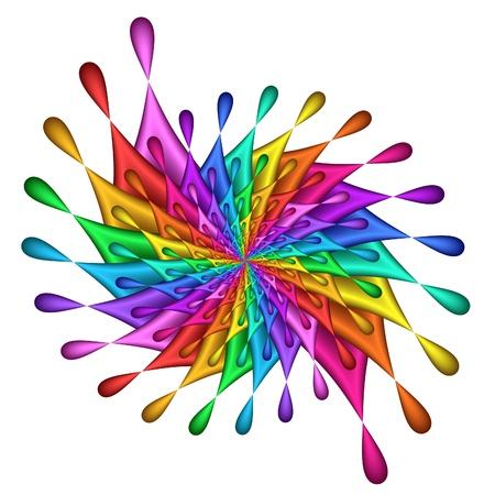 saturated color: Rainbow Teardrop Pinwheel - fractal image Stock Photo