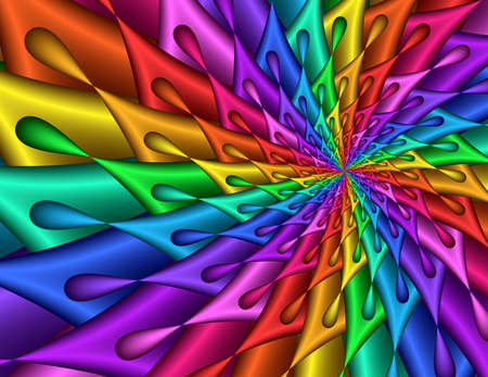 saturated color: Rainbow Teardrop Spiral - fractal image