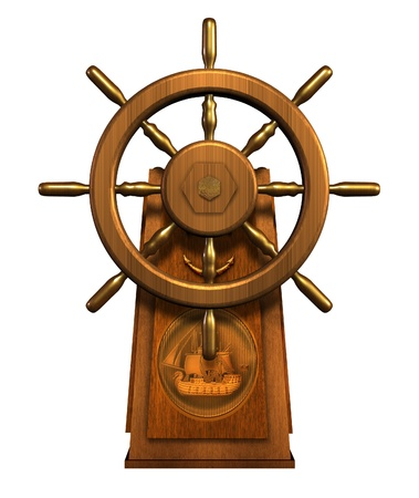 navigate: 3D render of a captain Stock Photo