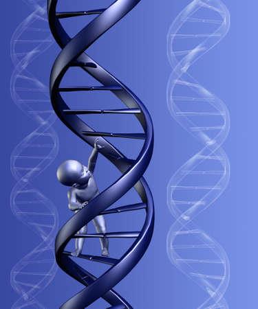 clonacion: 3D rinden de un beb� subir una cadena de ADN, con el fondo.