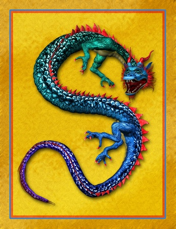 3D render of an Oriental Dragon with a Gold Background. photo