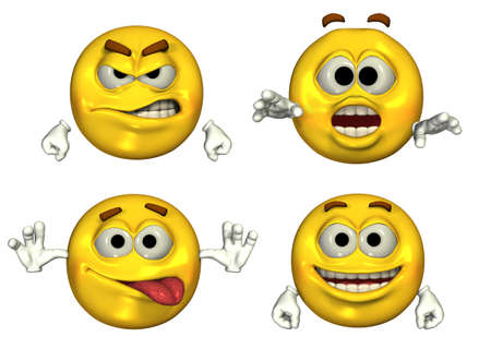 emoticons: Four Big Emoticons - 3D render