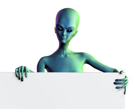 fantasy alien: 3D render of an alien with the edge of a blank sign.