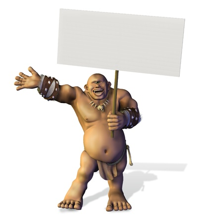 3D render of a friendly cyclops holding a blank sign. Stock Photo - 11711041