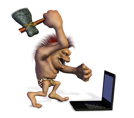 destroying: Caveman Killing a Laptop - 3D render. Stock Photo