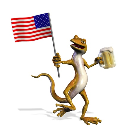 USA Gecko with Beer - 3D render photo