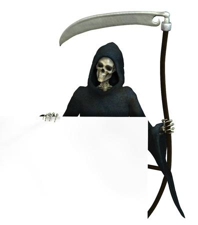 guadaña: Grim Reaper celebración en el borde de una muestra en blanco - 3D rinden Foto de archivo