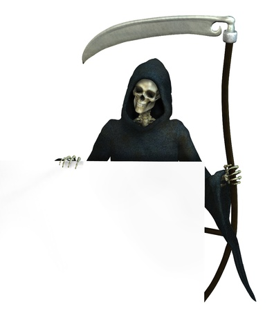 Grim Reaper holding onto the edge of a blank sign - 3D render Stock Photo - 11711066