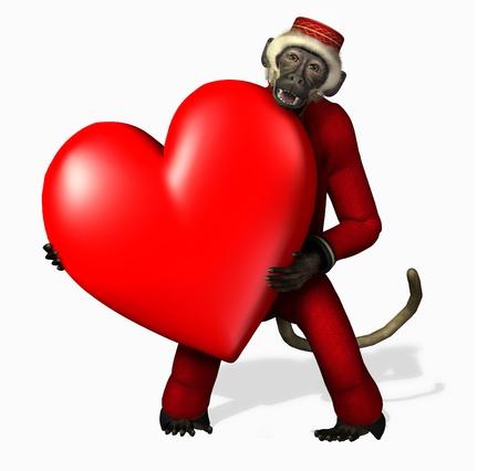 Love Monkey - 3D render Stock Photo - 11711064
