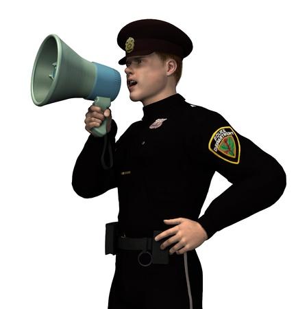 law enforcer: Policeman with Megaphone - 3D render.