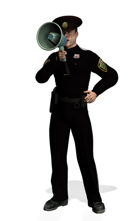 patrolman: Policeman with Megaphone 2 - 3D render
