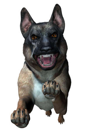 German Shepherd Attacks - 3D Render photo