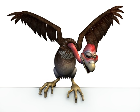buzzard: 3D render of a cartoon vulture perched on the top edge of a blank sign.