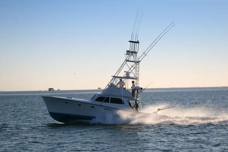 boat fishing: Fishing boat off the coast of Florida.
