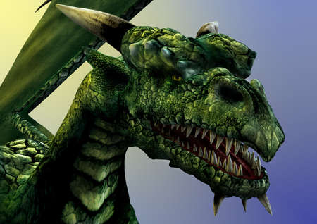 myth: Dragon close-up -- 3D render