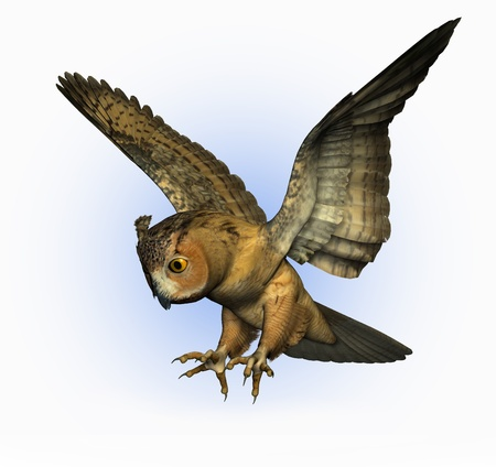 night owl: 3D render of an Eagle Owl swooping down.