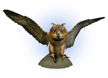swooping: 3D render of an Eagle Owl swooping down.