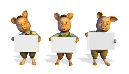 3D render of three little pigs holding blank signs. photo