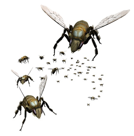 swarm: Swarm of Bees - 3D render Stock Photo