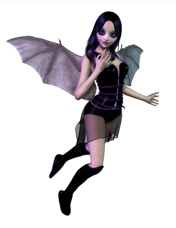 3d vampire: Gothic Fairy with Bat Wings - 3D render