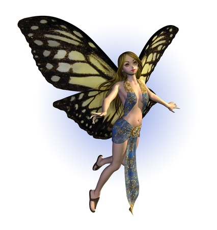 3D render of a butterfly fairy. Stock Photo