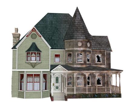 жуткий: 3D визуализации иллюстрирующие заброшенный дом убывающих с течением времени. Фото со стока