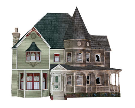 spooky: 3D render illustrating a neglected house decaying over time.