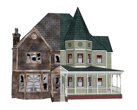 restoration: 3D render depicting a rundown Victorian home, before and after restoration.
