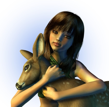 fawn: Young Girl Holding a Fawn - 3D render Stock Photo