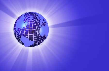 Earth Globe with Light Rays - left orientation - 3D render Stock Photo - 11711184