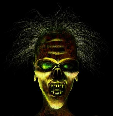 mujer fea: 3D render de una cara horrible.