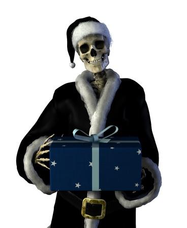 3d weird: Gothic Santa - 3D render of a skeleton Santa. Stock Photo