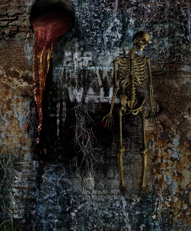 renders: Horror Wall with Skeleton - combination of photos and 3D renders.
