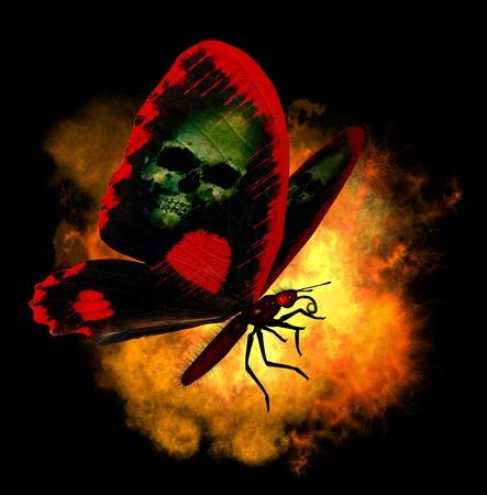 Demon Butterfly - 3D render Stock Photo