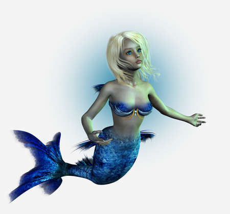 3d mermaid: 3D render of a young mermaid - isolated Stock Photo