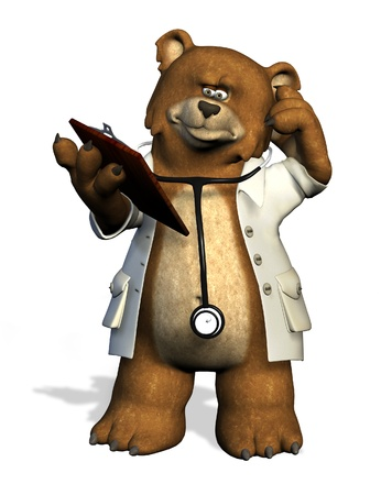 medical clipboard: 3D render of a doctor bear. Stock Photo