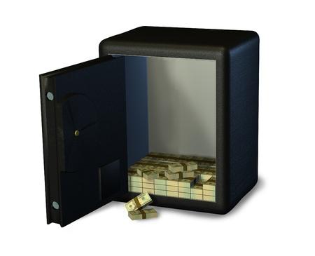 lockbox: Open Safe with Money Stock Photo