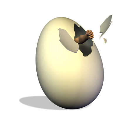 escape: Break out of your shell -- 3D render of a man punching a hole in the shell of the egg that confines him.