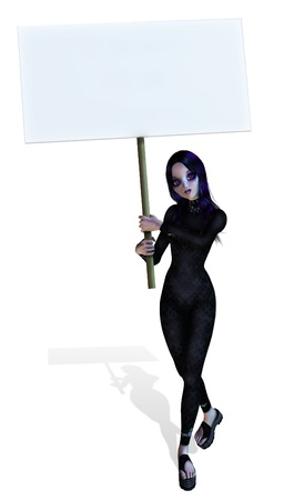3d vampire: Goth Girl holding a blank sign - 3D render. Stock Photo