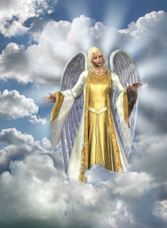 bless: 3D render of an Angel in the sky. Sky and clouds are composed from my digital photos.
