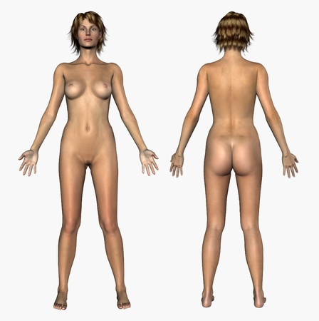 Human Anatomy - Nude Woman - Front and Back - 3D render