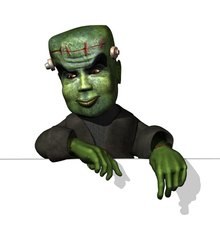 3d halloween: Cartoon Frankenstein on Edge - 3D render