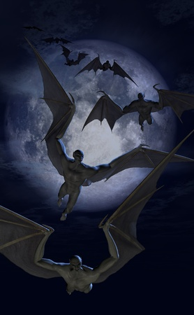 3d vampire: Invasion of the Bat Creatures - 3D renders and digital painting. Stock Photo