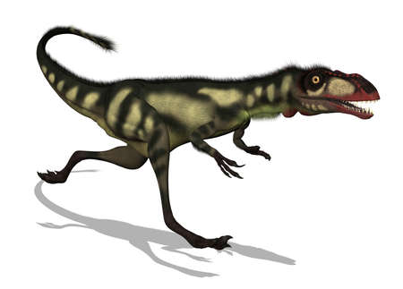 cretaceous: The Dilong was a small dinosaur that lived in China during the Lower Cretaceous period - 3D render.
