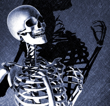 manipulated: A lively skeleton with dramatic light and shadow - digitally manipulated 3d render. Stock Photo