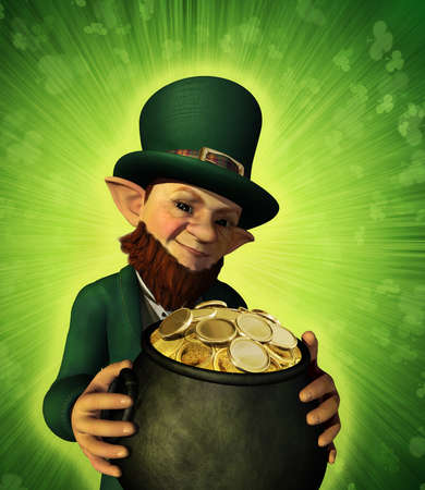 A lucky leprechaun has found his pot of gold - 3d render. photo