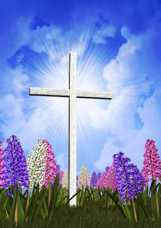 sunday: Pastel hyacinths surround an radiant Easter Cross - combines digital photography, 3D rendering and digital painting - all elements created by Linda Bucklin. Stock Photo