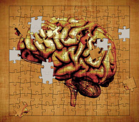 cognitive: A puzzle features the image of a human brain - depicts the mystery of human consciousness  Digitally manipulated 3d render