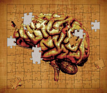 wanorde: Een puzzel is voorzien van het beeld van een menselijk brein - toont het mysterie van het menselijk bewustzijn digitaal gemanipuleerd 3d render